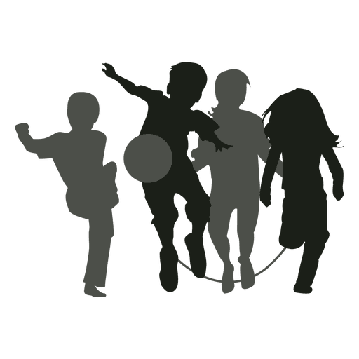 512x512 Kids playing silhouette kids