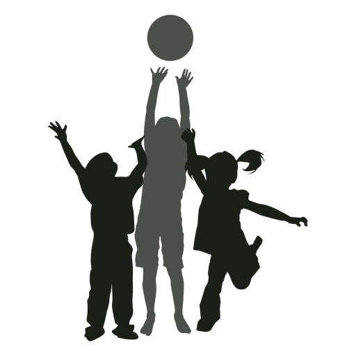 512x512 Kids playing with ball silhouette kids