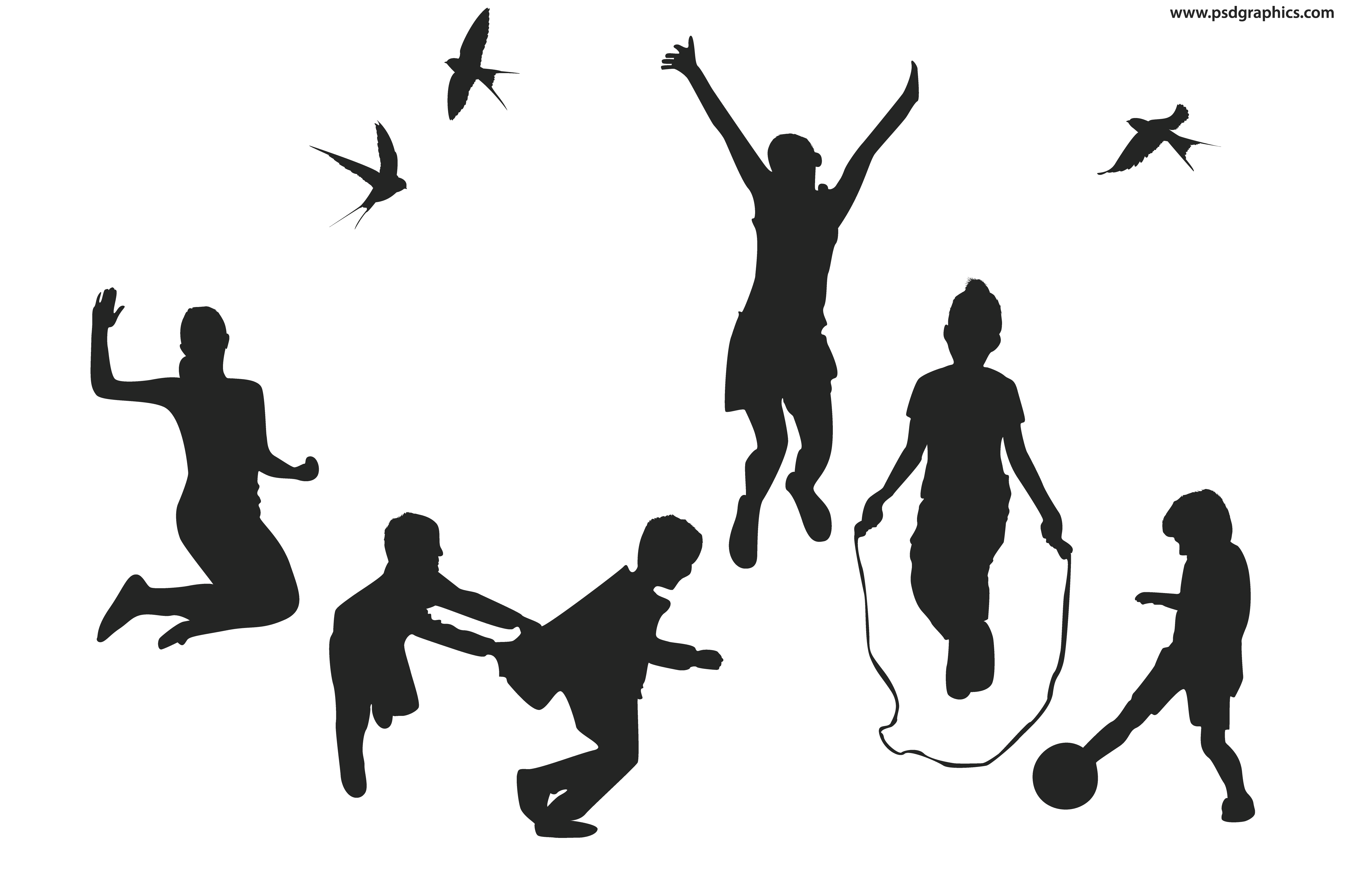 5000x3333 Playful Children Vector Silhouettes Psdgraphics Cold Shoulder