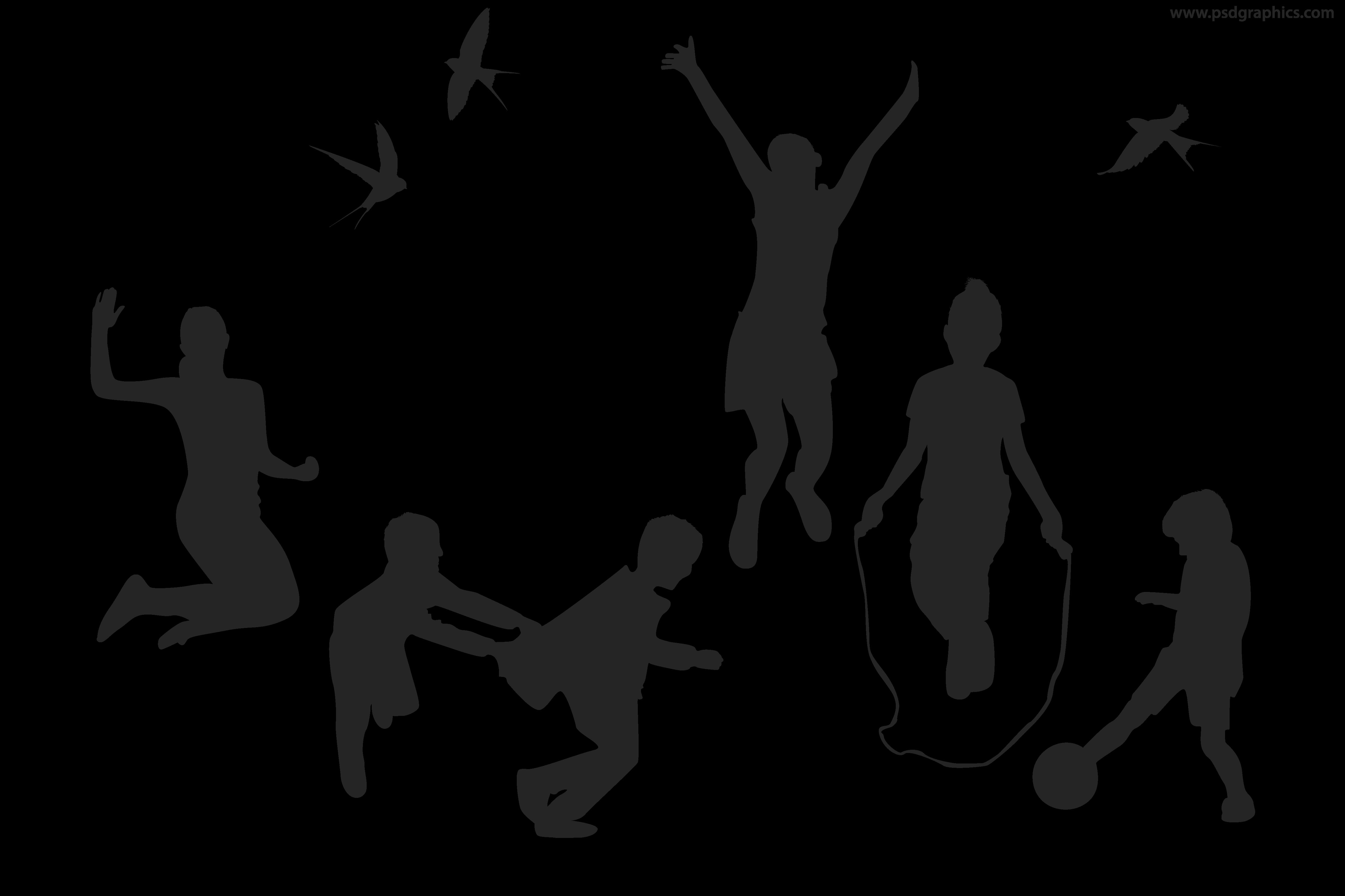 5000x3333 Playful children vector silhouettes PSDGraphics Cold shoulder