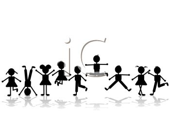 350x233 Royalty Free Clipart Image Silhouettes of Adolescent Children Playing