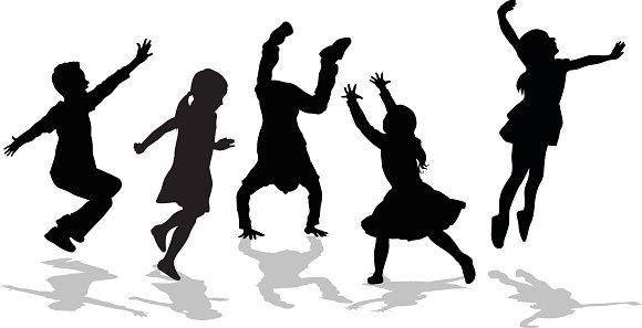 580x297 Silhouette Of High Energy Active Kids Vector Art Illustration