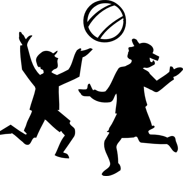 600x577 Silhouette Of Kids Playing With A Ball clip art Free vector in