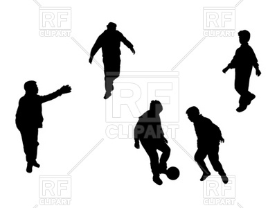 400x300 Silhouettes of kids playing football (soccer) Royalty Free Vector