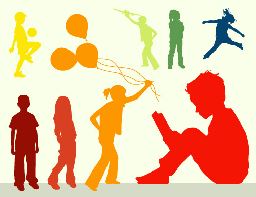 500x386 Download Free Kids Silhouettes In Vector Format