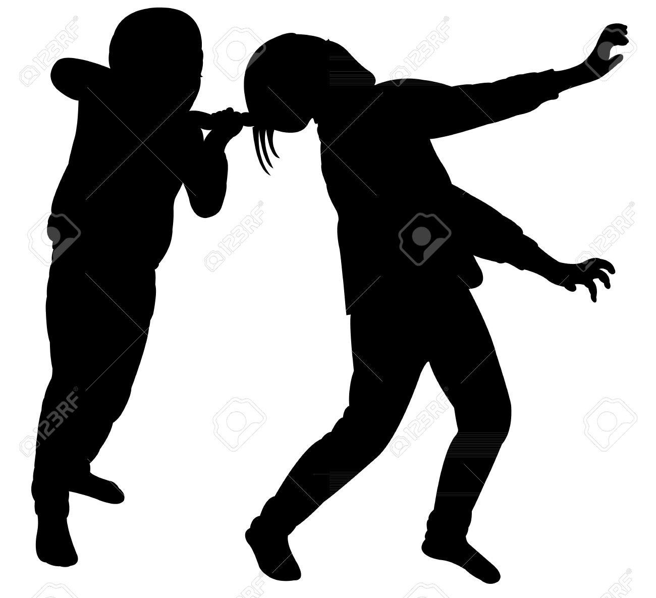 1300x1185 Angry Sisters Fighting Silhouette Vector Royalty Free Cliparts