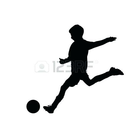 450x450 Soccer Silhouette Vector Football Player With Ball Stock And Free