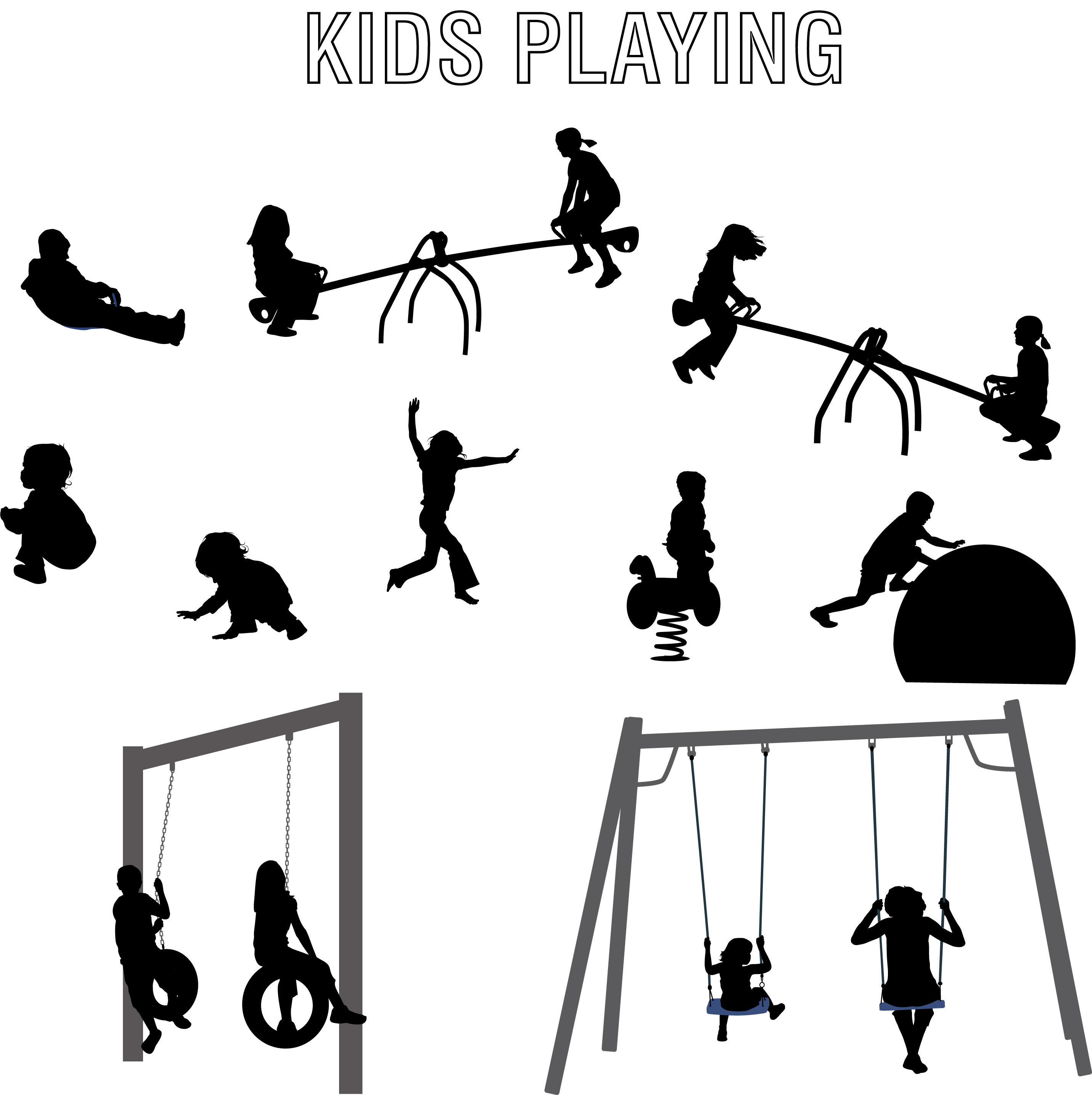 2863x2871 Children Playing Vector Silhouettes