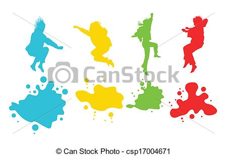 450x310 Girls, Kids Jumping Vector Silhouette Set Background