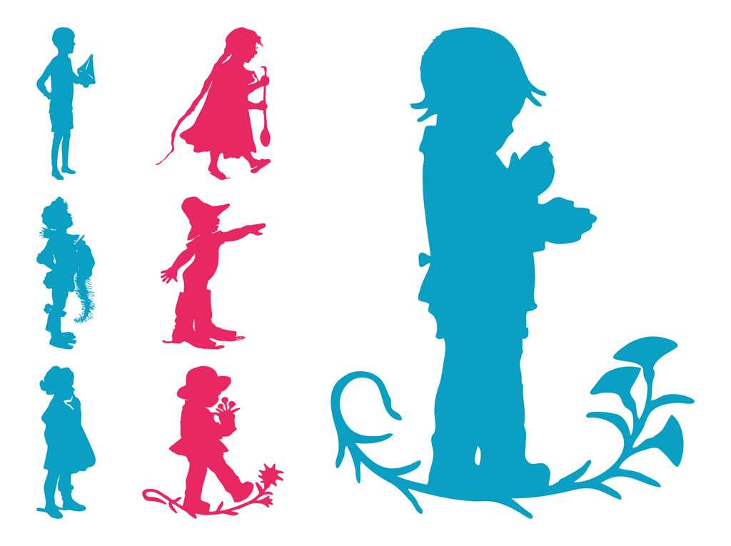 1024x765 Kids Silhouettes Set Free Vectors Ui Download