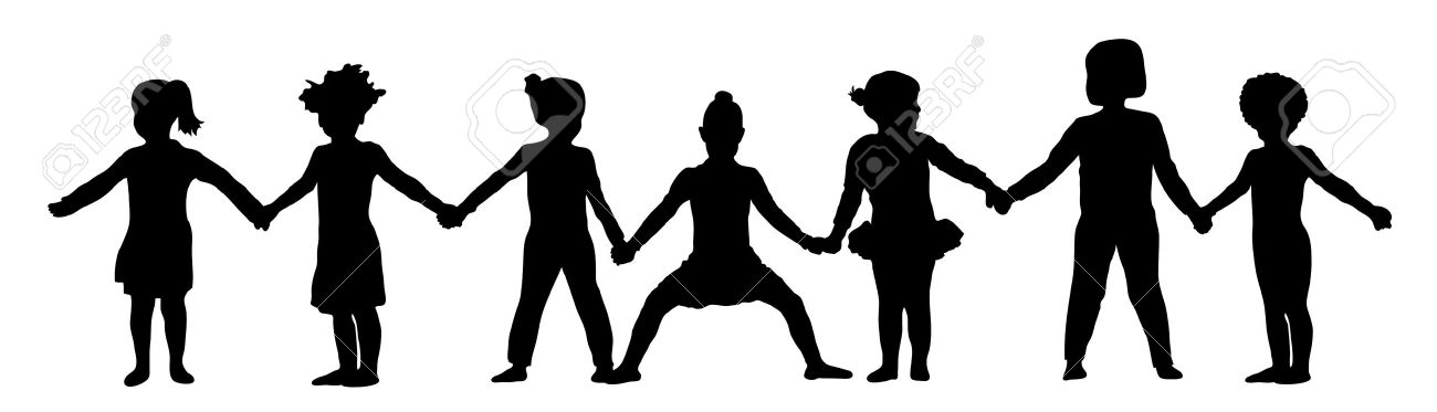 1300x373 Free Silhouette Clipart Group Of Women Friends Holding Hands