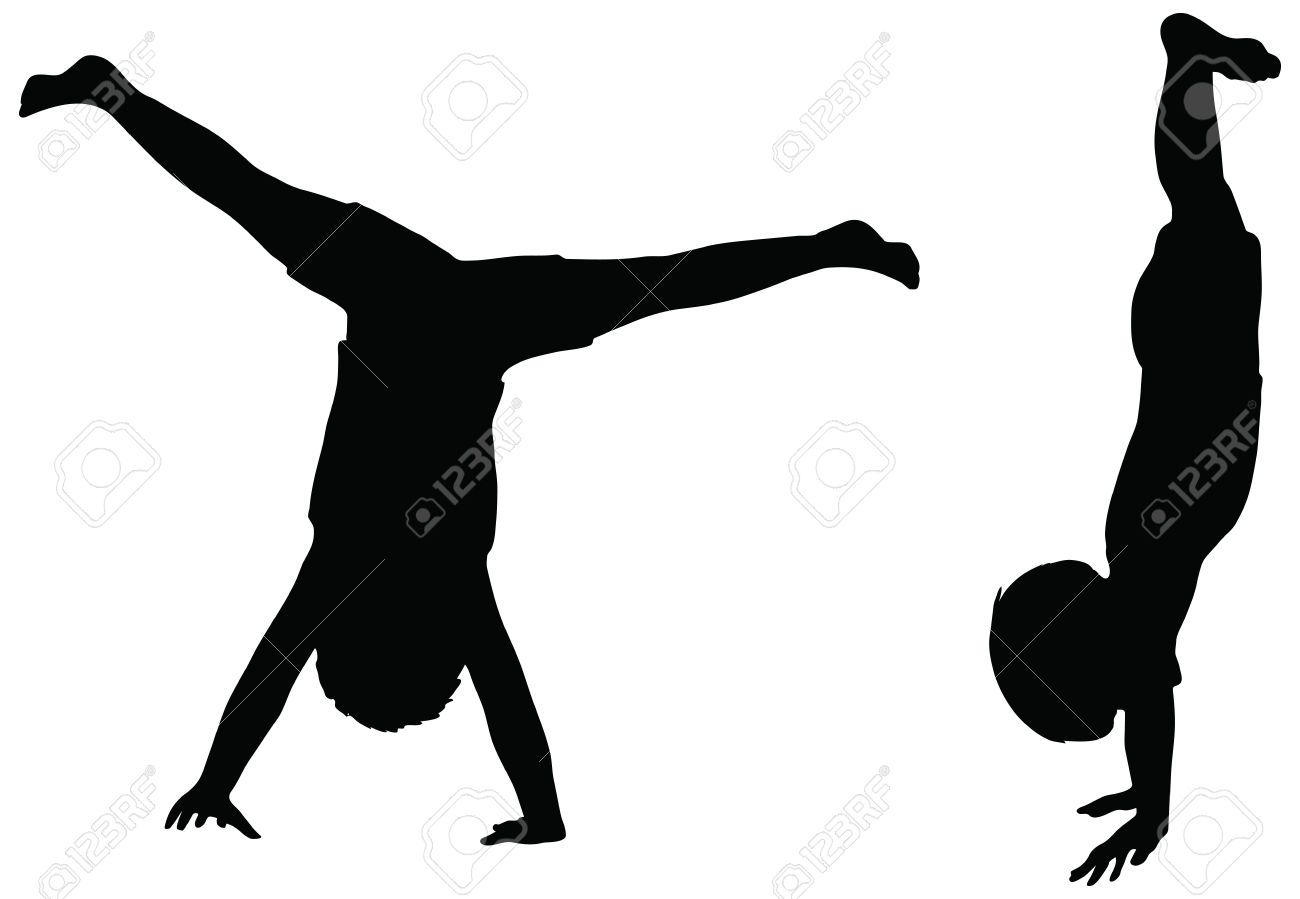 1300x899 26129007 Eps 10 Vector Kids Silhouettes In Position Of Cartwheel
