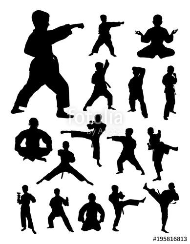 389x500 Kids Training Karate Detail Silhouette. Vector, Illustration. Good