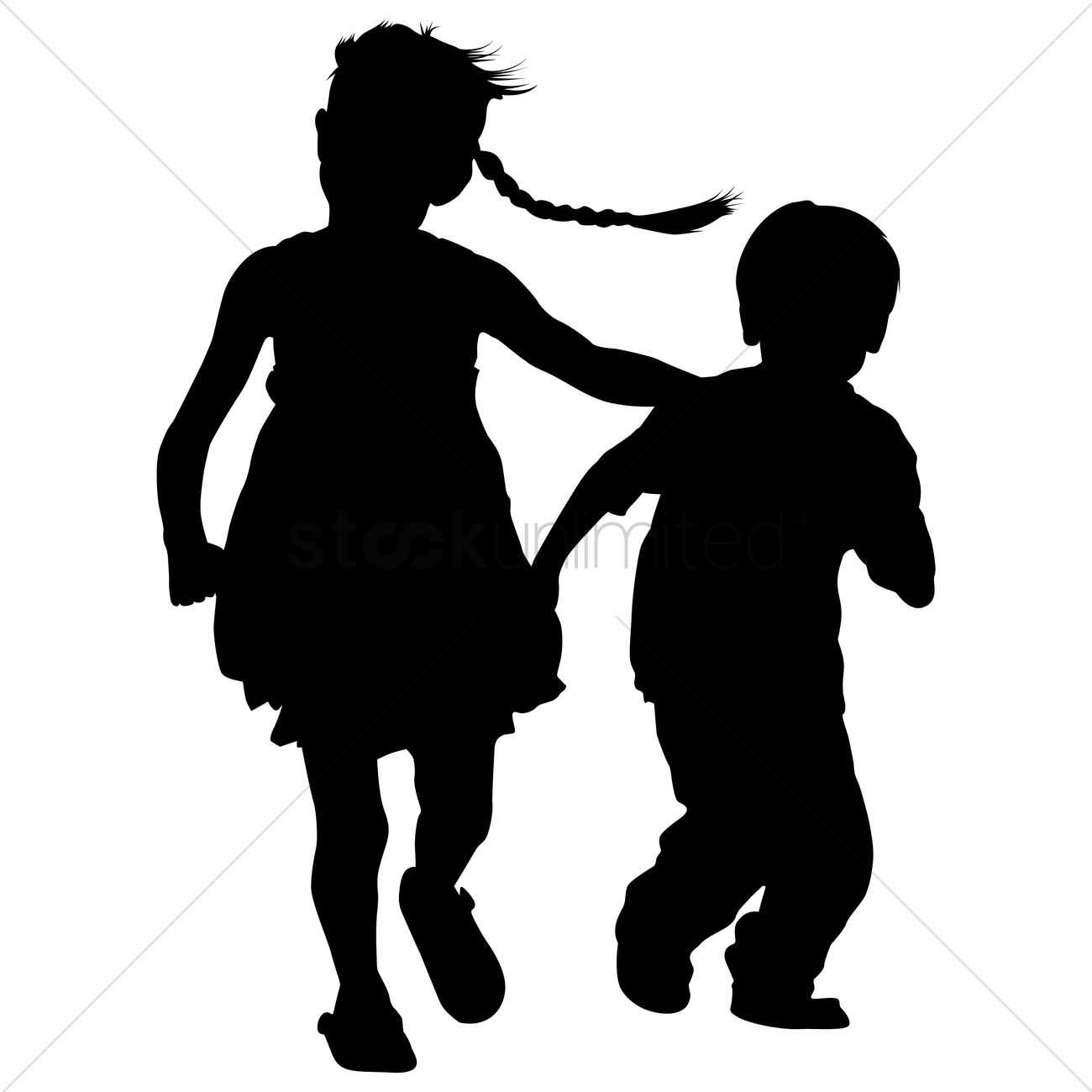 1300x1300 Silhouette Of Kids Playing Vector Image