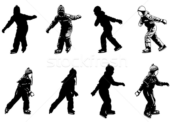600x423 Ice Skating Kids Silhouettes Vector Illustration Bojana Ilic