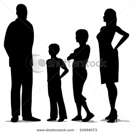 450x444 Of Four Standing, Mother, Father And Two Kids Silhouette