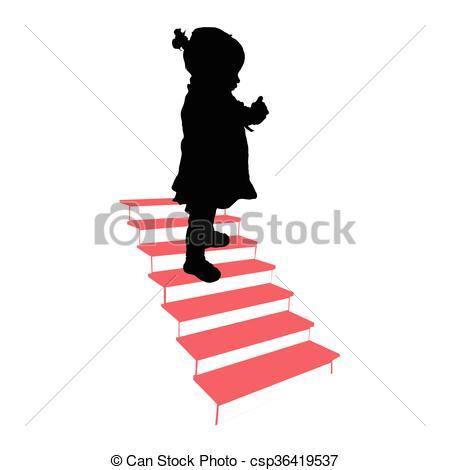 450x470 Farbe, Treppe, Silhouette, Abbildung, Kind Vektoren