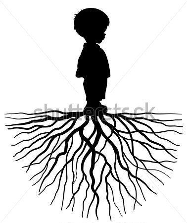378x450 Het Silhouet Van Een Kind Met Root Clip Arts