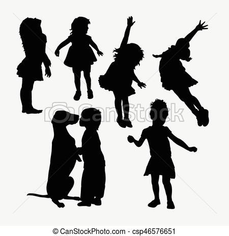 450x463 Kind, Silhouette, Spielende , Maskottchen, Web