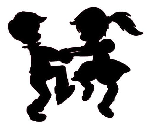 500x418 Kinder Tanzen Silhouette Wandtattoos Vinylaufkleber Dekor