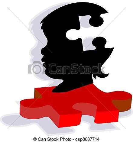 440x470 Puzzel, Silhouette, Autismus, Kind. Spektrum, Verwandt, Eps
