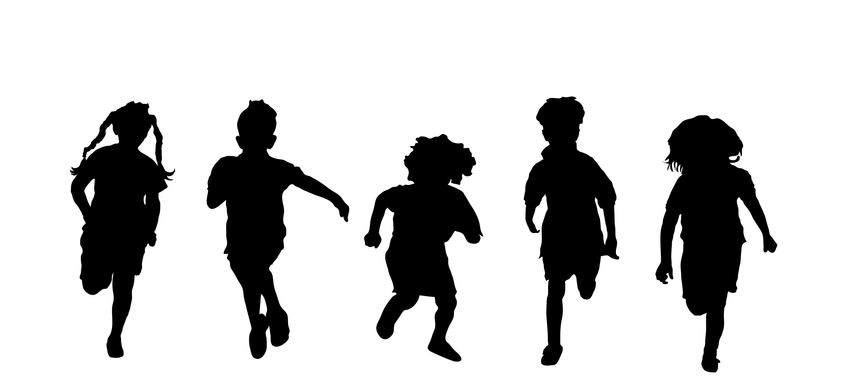 3291x1519 School Children Silhouette