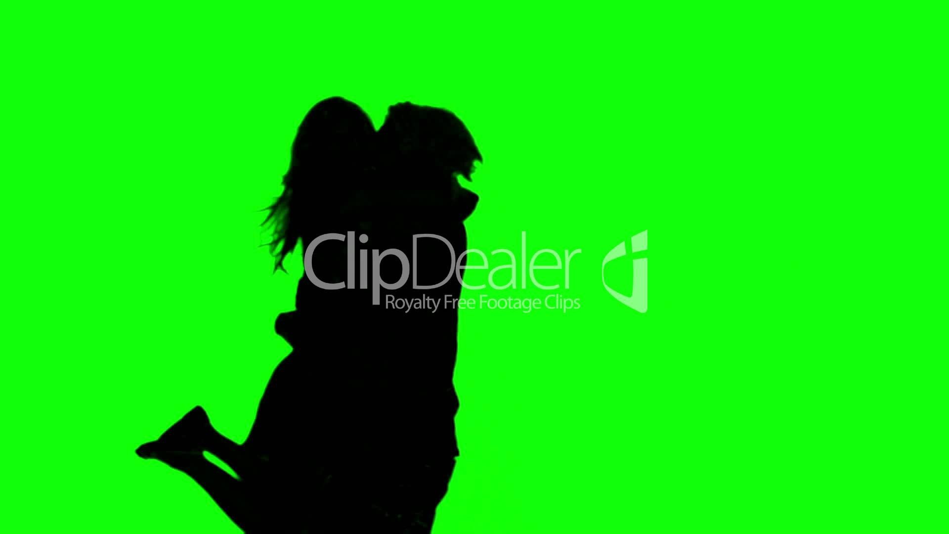 1920x1080 Silhouettes Of Couple Meeting Again On Green Screen Royalty Free