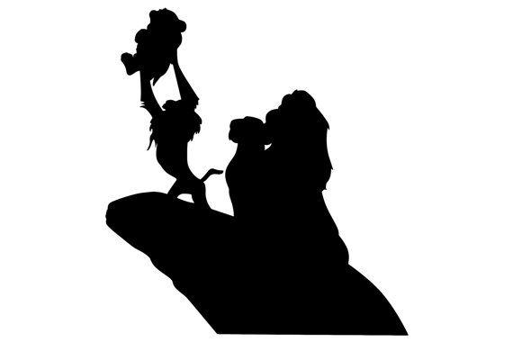 570x380 Lion King Pride Rock Silhouette Mufasa, Simba, Rafiki ~ Vinyl Wall