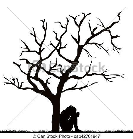 450x470 Silhouette Of A Sad Woman Under A Leafless Tree. Silhouette