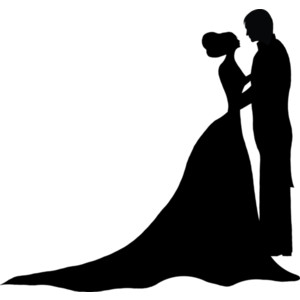 300x300 Silhouette Couple Kissing Wedding Clipart
