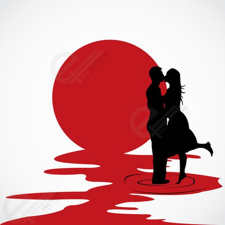 456x456 Love Couple Kissing Each Other Vector Silhouettes, Clip Art