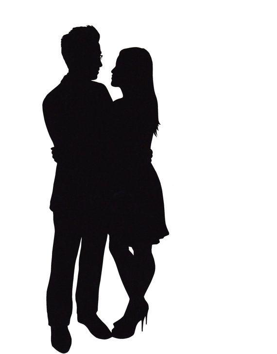 570x730 Profile Clipart Couple Silhouette