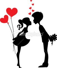 236x278 Silhouette Of Two People With Red Hearts Couple Silhouette