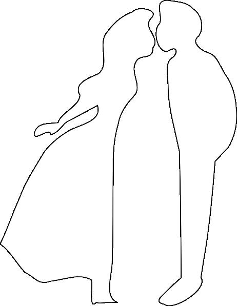 462x597 White Kissing Silhouette Clip Art