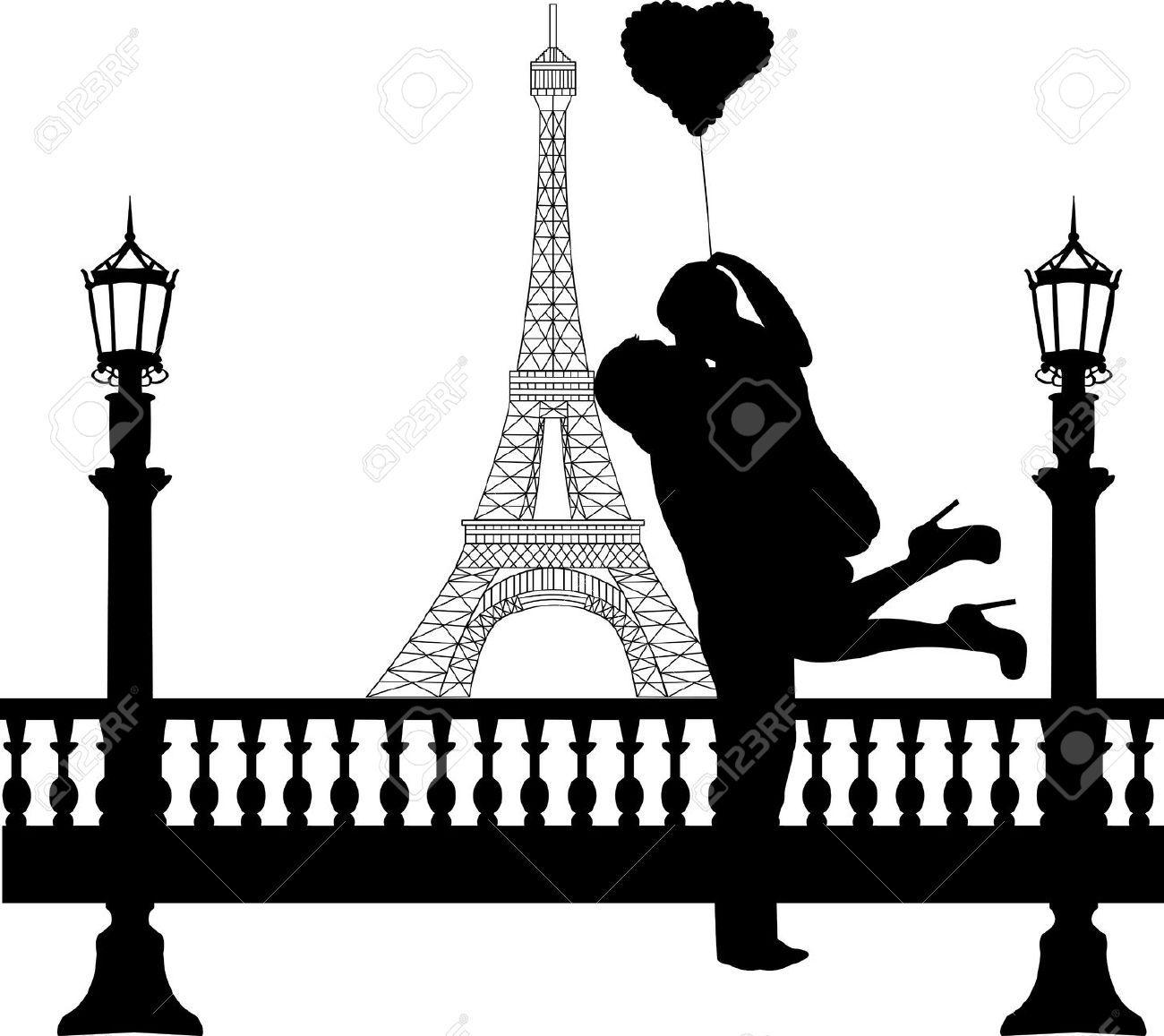 1300x1157 Paris Love Silhouette Heart Balloons, Silhouette