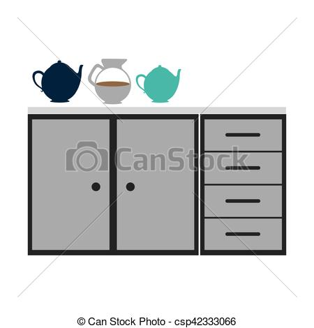450x470 Gray Scale Silhouette With Kitchen Shelf And Drawers And Tea