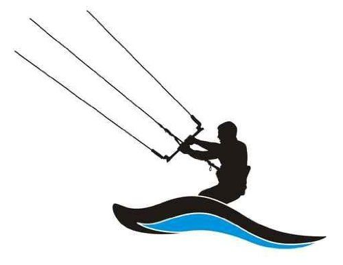 500x387 Leisure Wall Decals Kite Surfing Silhouette Kite Boarder In Action