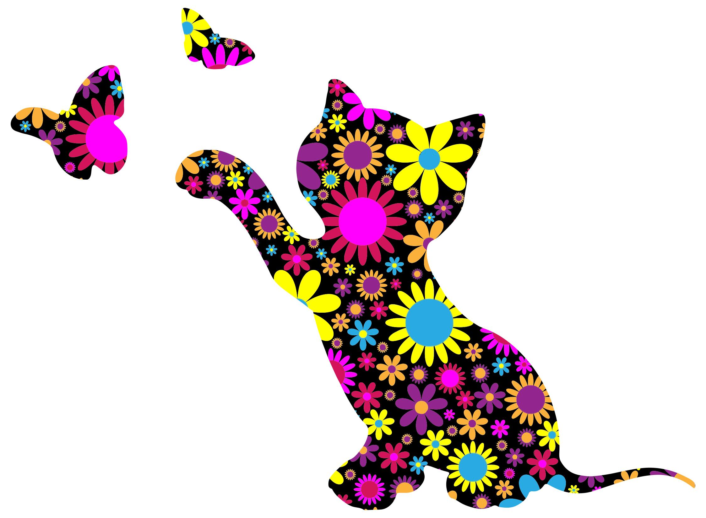 2248x1650 Floral Kitten Playing With Butterflies Silhouette Clipart