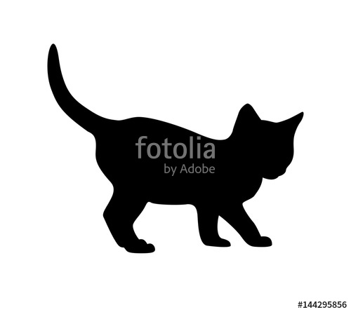 500x445 Kitten Silhouette On White Backgruond Stock Image And Royalty