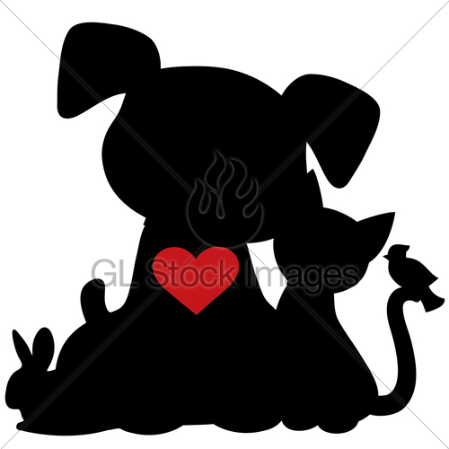 500x500 Puppy Kitten Silhouette Gl Stock Images