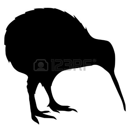 450x450 Illustration In Style Of Black Silhouette Of Kiwi Stock Vector