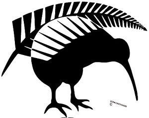 300x238 Kiwi Sticker Aotearoa New Zealand Kiwi With Fern Sticker Black Ebay