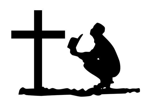 570x422 Man With Cowboy Hat Praying Sticker. Decal Of Praying Cowboy