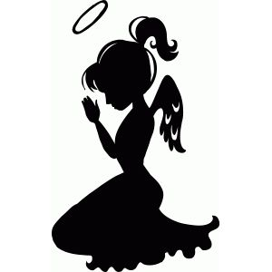 300x300 Kneeling Child Angel Silhouette Design, Silhouette And Angel