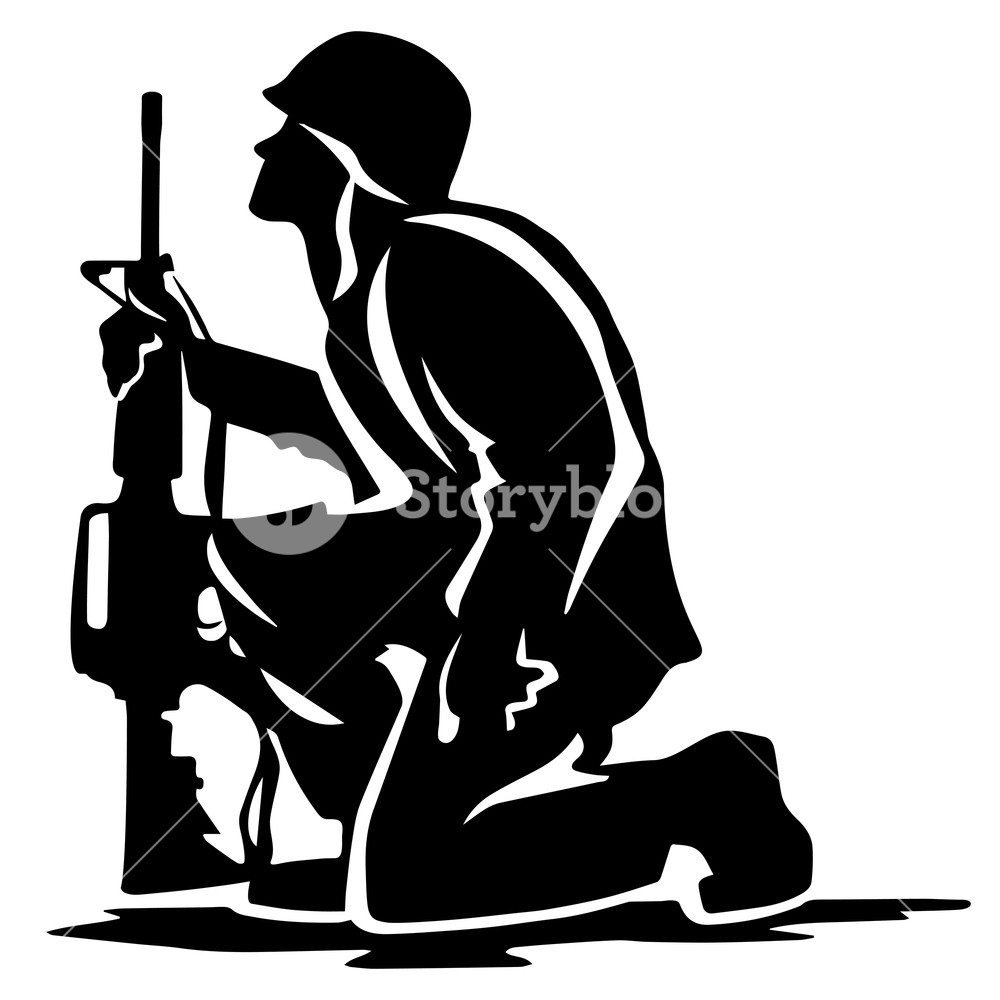 1000x1000 Military Soldier Kneeling Silhouette Vector Illustration Royalty