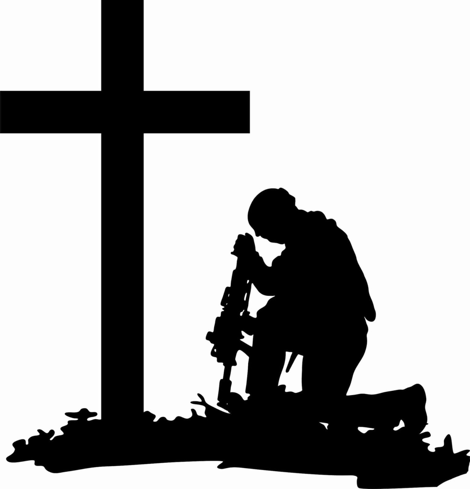 1538x1600 Soldier Kneeling At Cross Silhouette free image