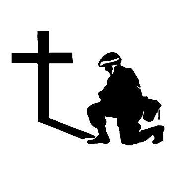 355x355 Soldier Kneeling Prayer Cross