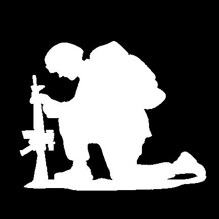432x432 This is the original The Kneeling Soldier standard decal in White