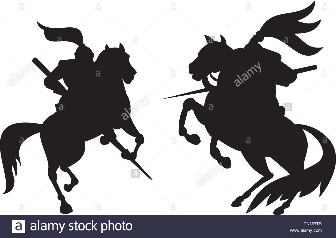 1300x921 Illustration Of Knight In Full Armor Riding Horse Steed Silhouette