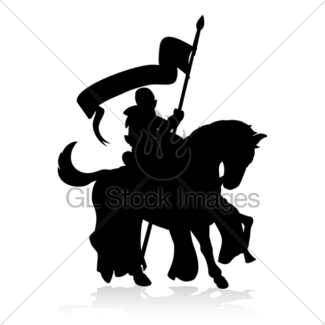 325x325 Silhouette Knight On Horse Gl Stock Images